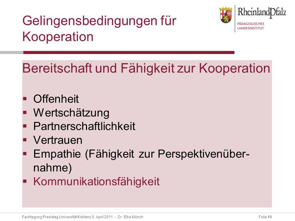 Folie 15Fachtagung Praxistag Universität Koblenz 5.