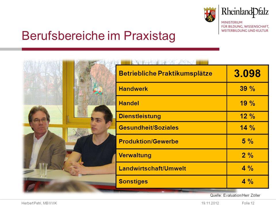 Folie 12Herbert Petri, MBWWK19.11.2012 Berufsbereiche im Praxistag Betriebliche Praktikumsplätze 3.098 Handwerk 39 % Handel 19 % Dienstleistung 12 % G