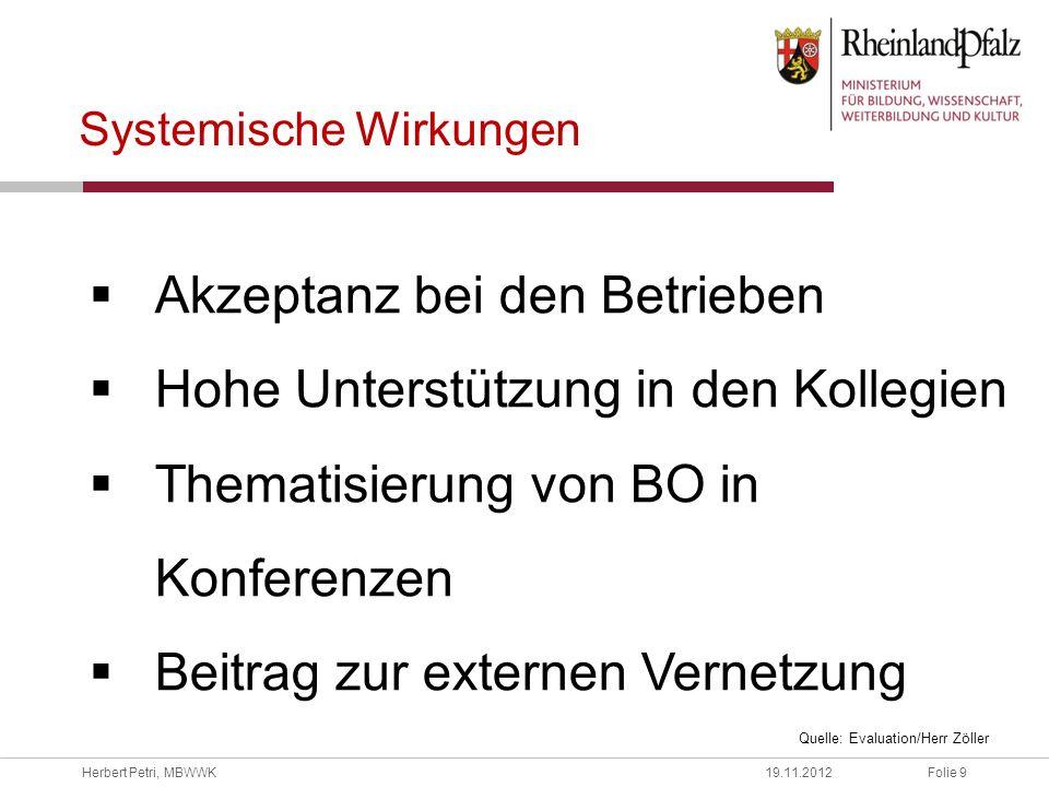 Folie 9Herbert Petri, MBWWK19.11.2012 Systemische Wirkungen Akzeptanz bei den Betrieben Hohe Unterstützung in den Kollegien Thematisierung von BO in K