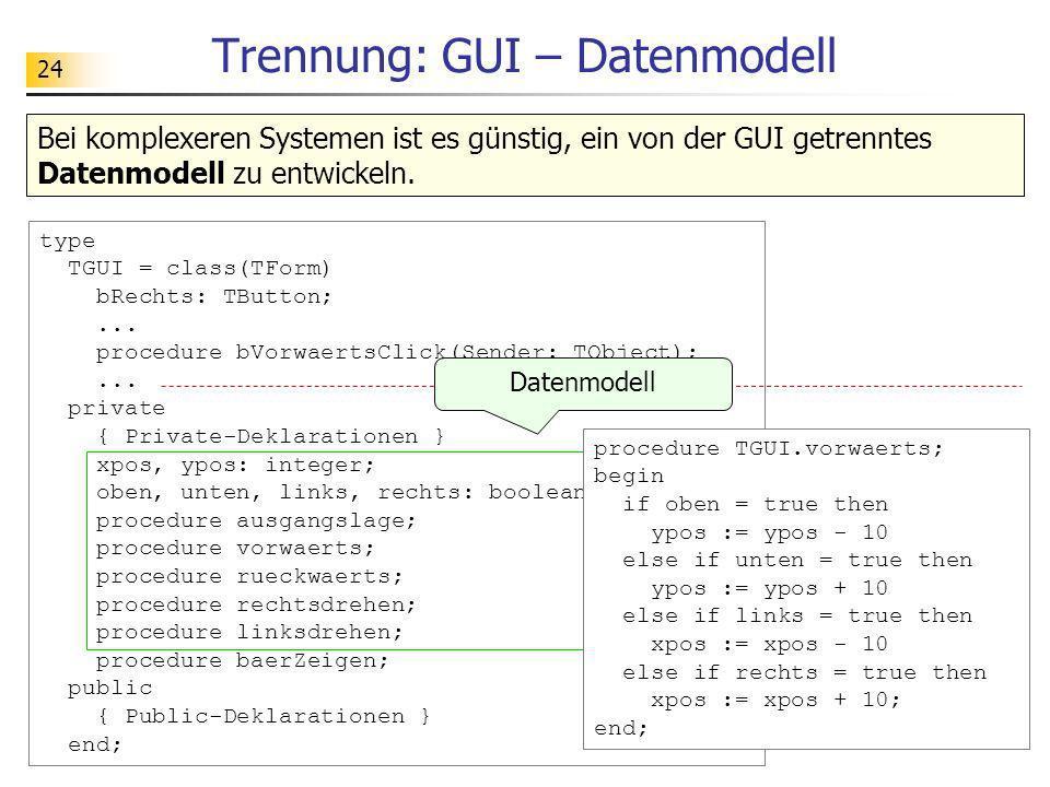 24 Trennung: GUI – Datenmodell type TGUI = class(TForm) bRechts: TButton;... procedure bVorwaertsClick(Sender: TObject);... private { Private-Deklarat