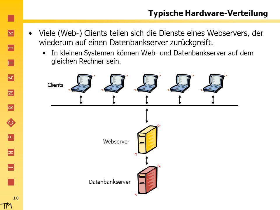 I N F O R M A T I K 10 Typische Hardware-Verteilung Viele (Web-) Clients teilen sich die Dienste eines Webservers, der wiederum auf einen Datenbankserver zurückgreift.