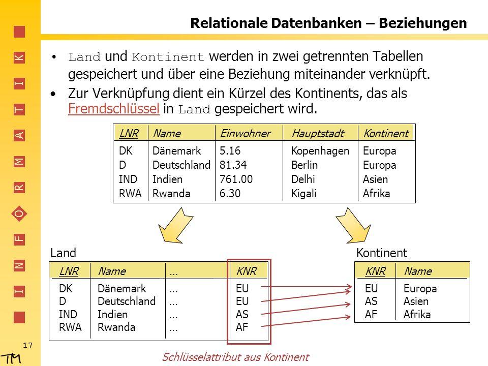 I N F O R M A T I K 17 Relationale Datenbanken – Beziehungen Land und Kontinent werden in zwei getrennten Tabellen gespeichert und über eine Beziehung miteinander verknüpft.