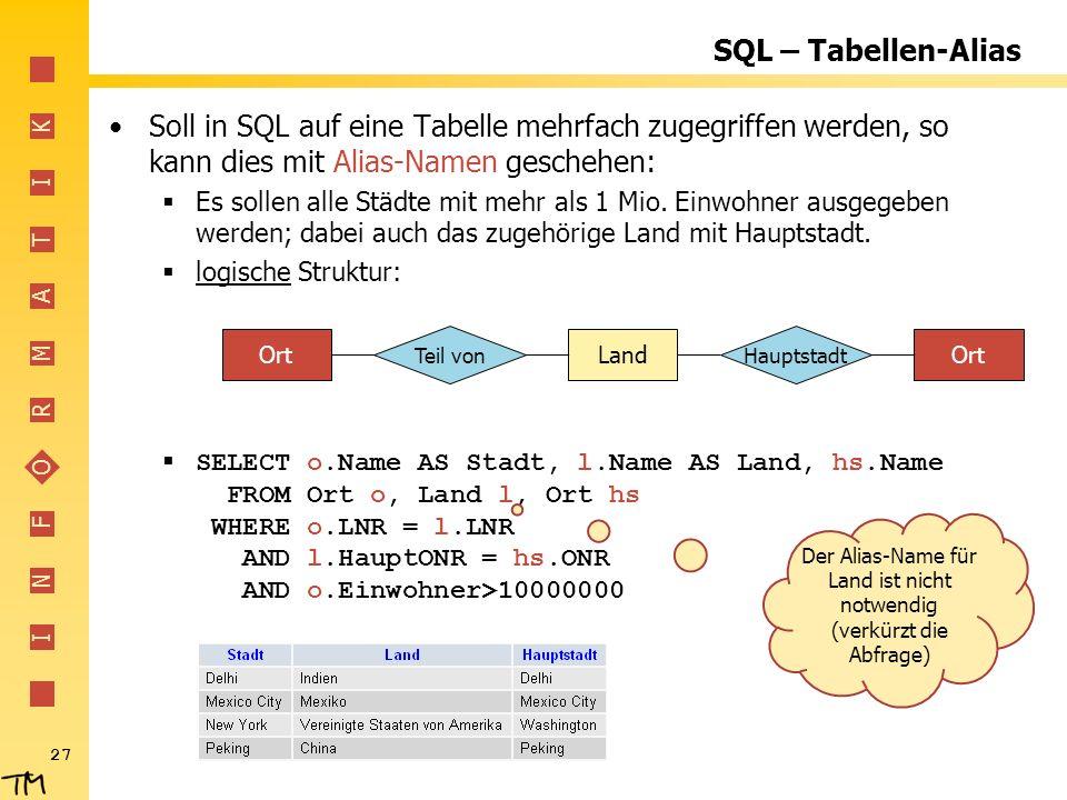 I N F O R M A T I K 27 SQL – Tabellen-Alias Soll in SQL auf eine Tabelle mehrfach zugegriffen werden, so kann dies mit Alias-Namen geschehen: Es sollen alle Städte mit mehr als 1 Mio.