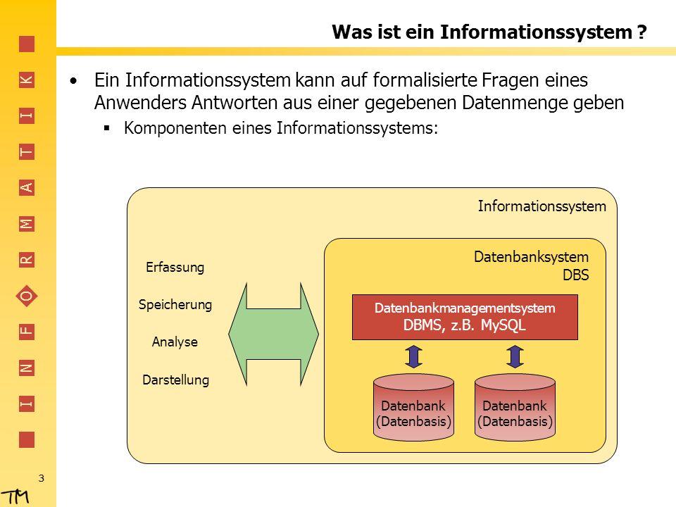 I N F O R M A T I K 3 Was ist ein Informationssystem .