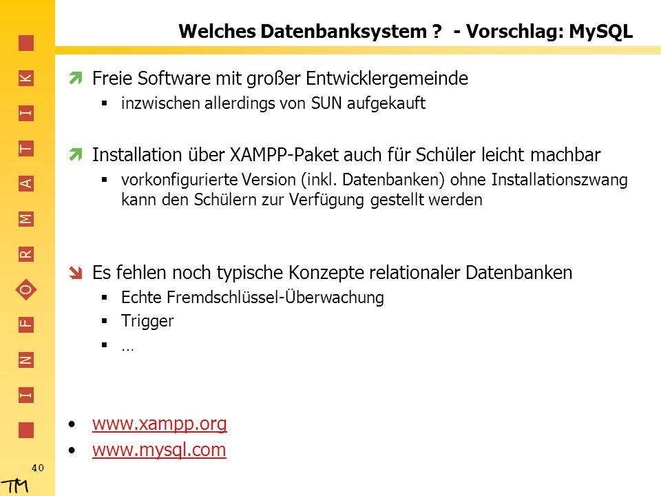I N F O R M A T I K 40 Welches Datenbanksystem .