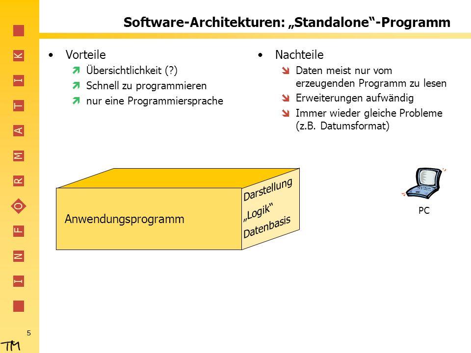 I N F O R M A T I K 5 Software-Architekturen: Standalone-Programm Vorteile Übersichtlichkeit (?) Schnell zu programmieren nur eine Programmiersprache Nachteile Daten meist nur vom erzeugenden Programm zu lesen Erweiterungen aufwändig Immer wieder gleiche Probleme (z.B.