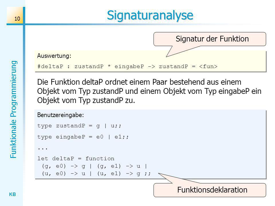 KB Funktionale Programmierung 10 Signaturanalyse Benutzereingabe: type zustandP = g | u;; type eingabeP = e0 | e1;;... let deltaP = function (g, e0) -