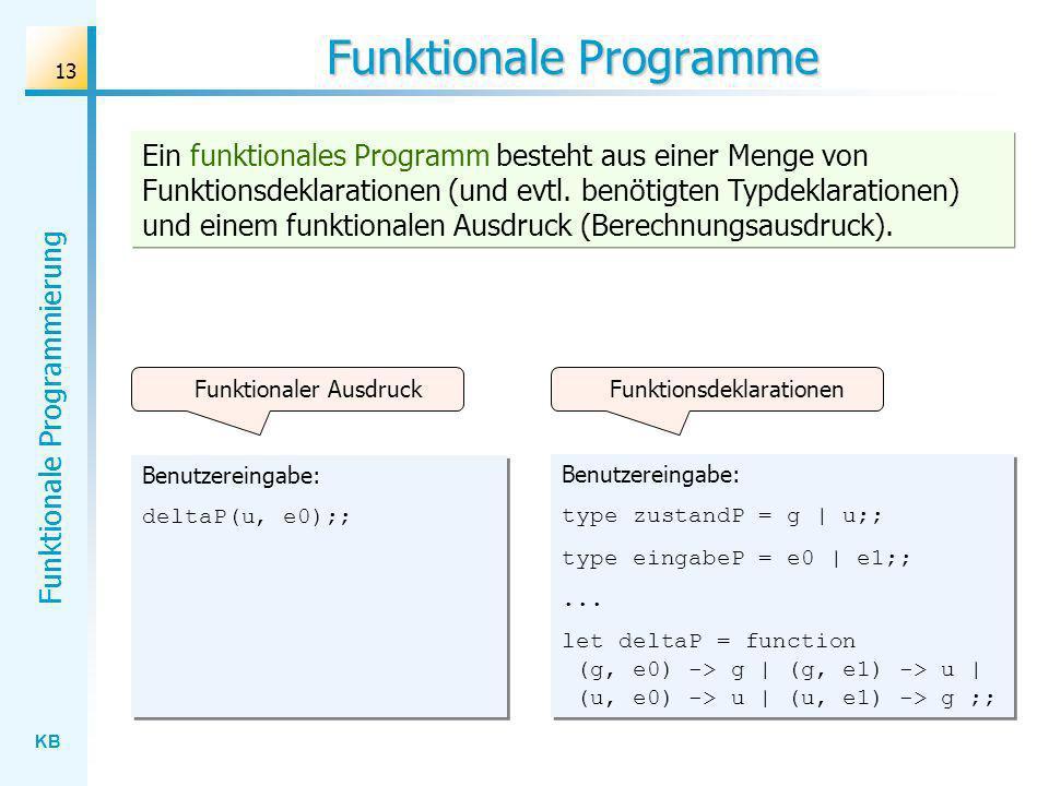 KB Funktionale Programmierung 13 Funktionale Programme Benutzereingabe: type zustandP = g | u;; type eingabeP = e0 | e1;;... let deltaP = function (g,