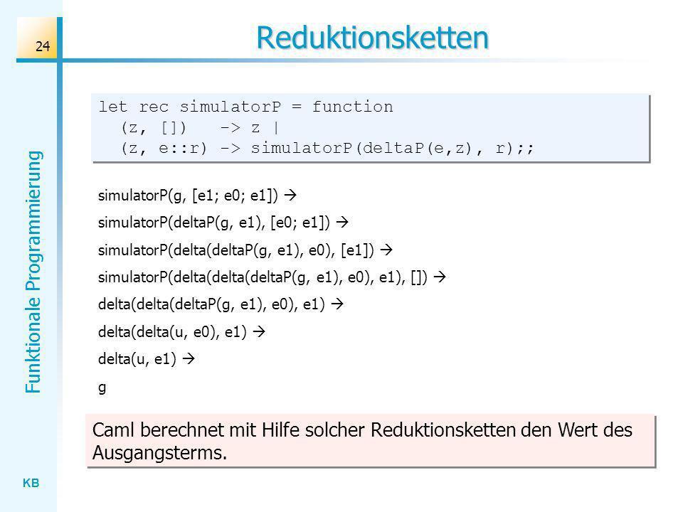 KB Funktionale Programmierung 24 Reduktionsketten let rec simulatorP = function (z, []) -> z | (z, e::r) -> simulatorP(deltaP(e,z), r);; simulatorP(g,