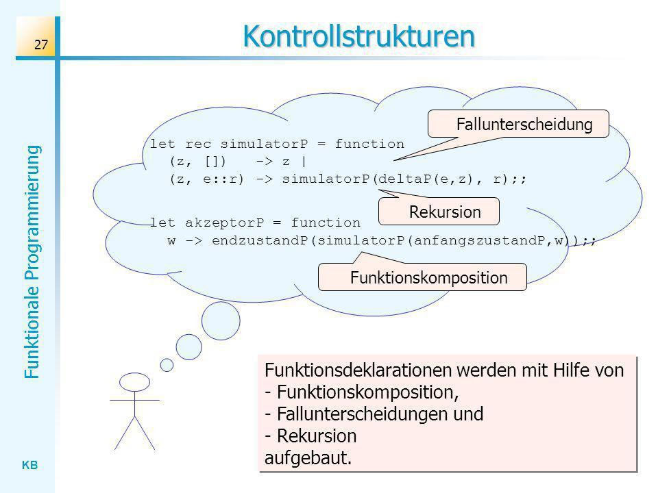 KB Funktionale Programmierung 27 Kontrollstrukturen let rec simulatorP = function (z, []) -> z | (z, e::r) -> simulatorP(deltaP(e,z), r);; let akzepto