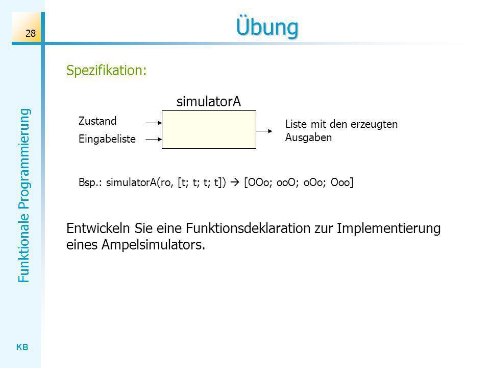 KB Funktionale Programmierung 28 Übung Entwickeln Sie eine Funktionsdeklaration zur Implementierung eines Ampelsimulators. Liste mit den erzeugten Aus