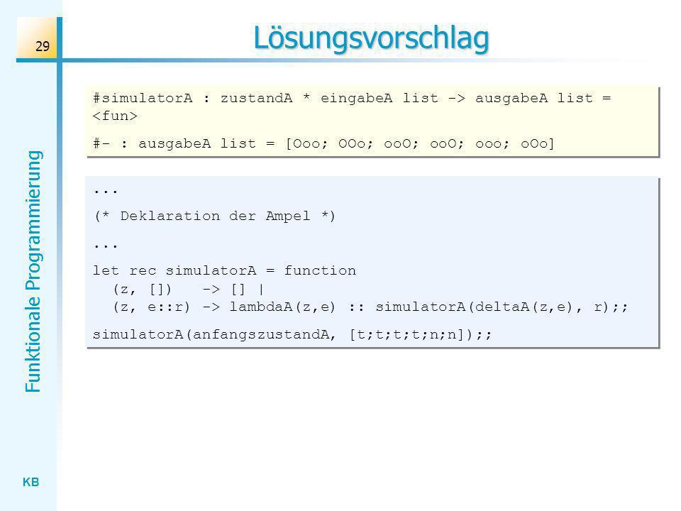 KB Funktionale Programmierung 29 Lösungsvorschlag... (* Deklaration der Ampel *)... let rec simulatorA = function (z, []) -> [] | (z, e::r) -> lambdaA
