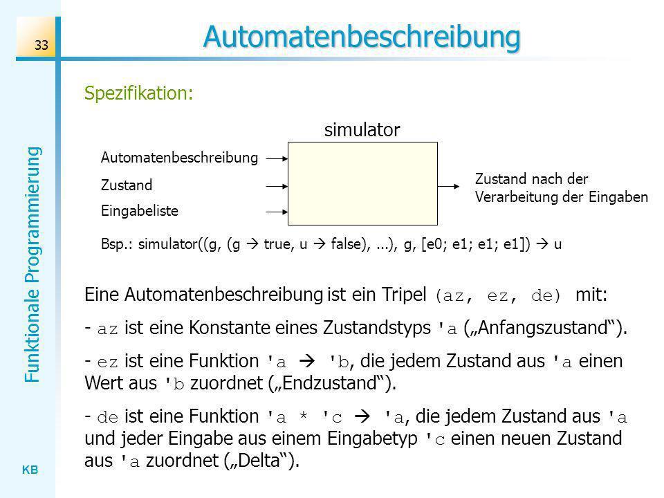 KB Funktionale Programmierung 33 Zustand nach der Verarbeitung der Eingaben Automatenbeschreibung simulator Bsp.: simulator((g, (g true, u false),...)