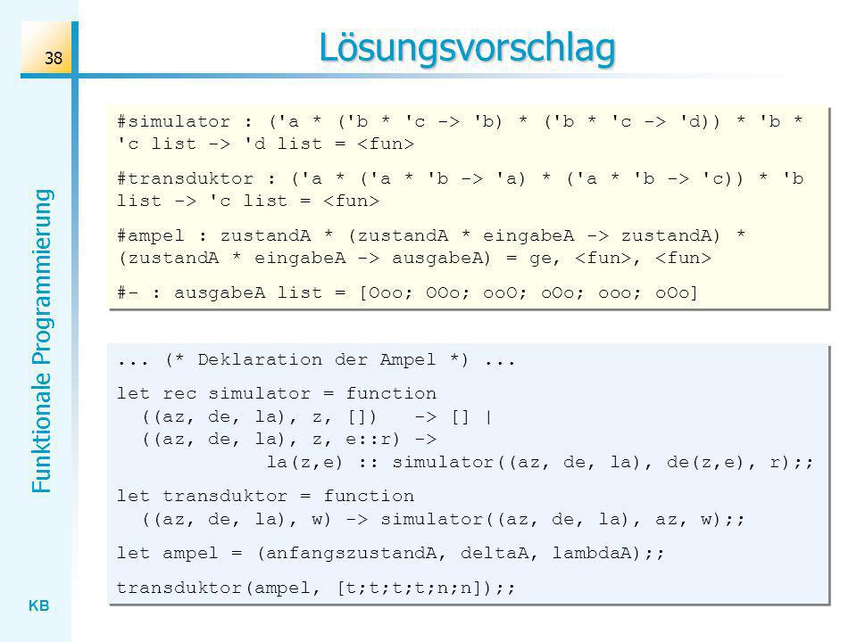 KB Funktionale Programmierung 38 Lösungsvorschlag... (* Deklaration der Ampel *)... let rec simulator = function ((az, de, la), z, []) -> [] | ((az, d