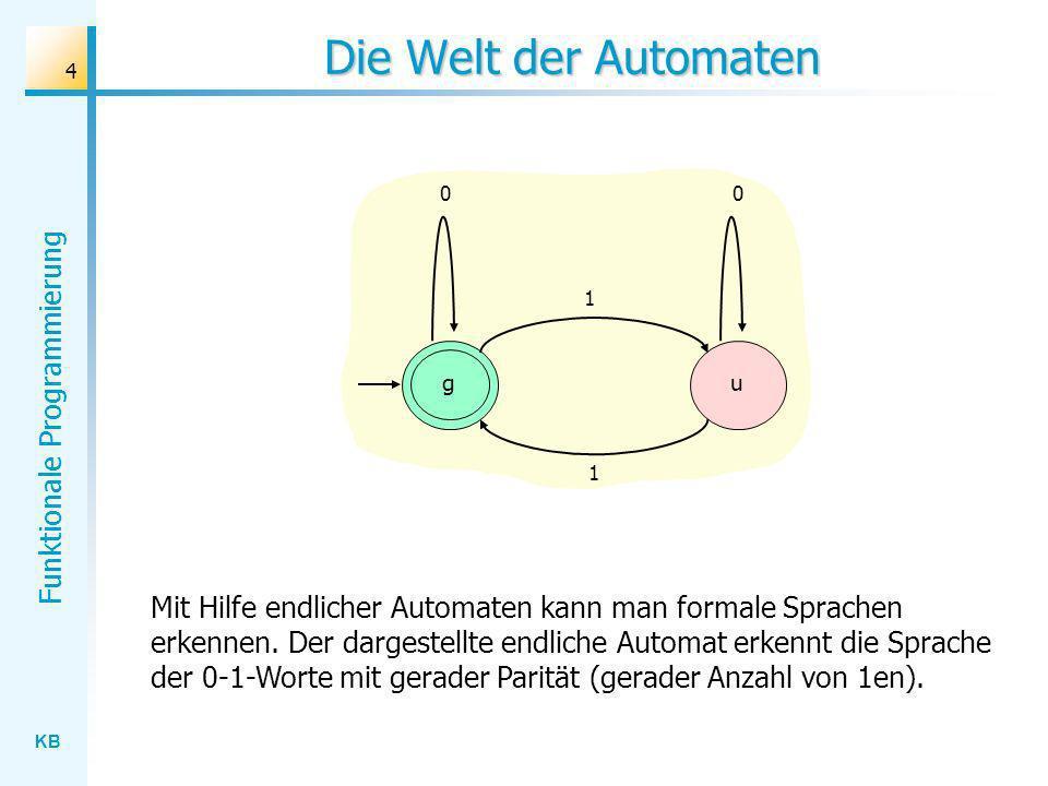 KB Funktionale Programmierung 4 Die Welt der Automaten Mit Hilfe endlicher Automaten kann man formale Sprachen erkennen. Der dargestellte endliche Aut