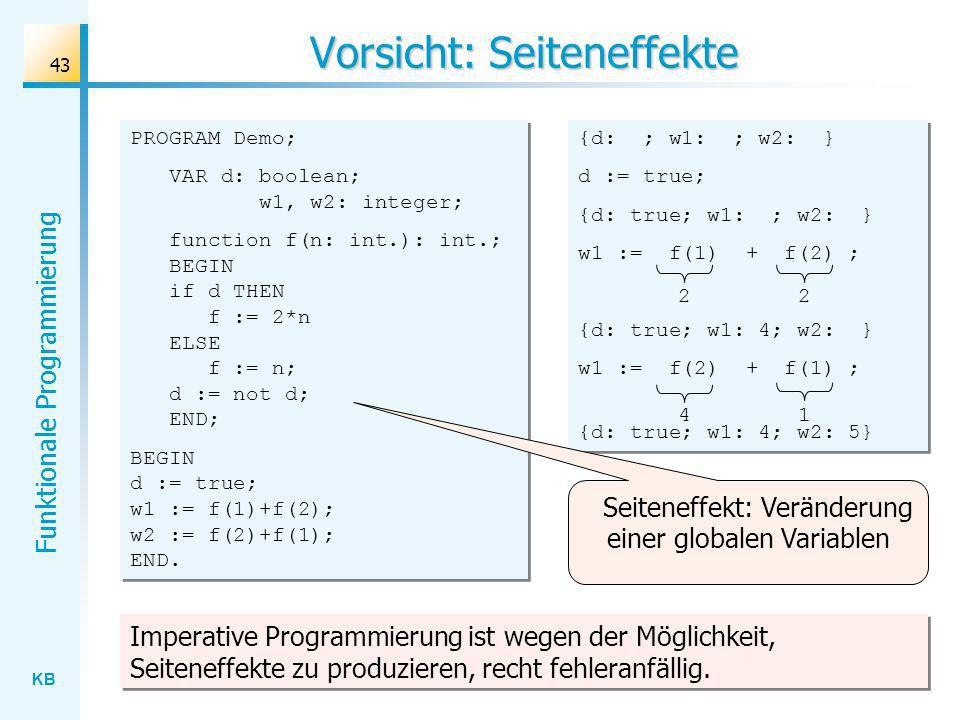 KB Funktionale Programmierung 43 Vorsicht: Seiteneffekte PROGRAM Demo; VAR d: boolean; w1, w2: integer; function f(n: int.): int.; BEGIN if d THEN f :