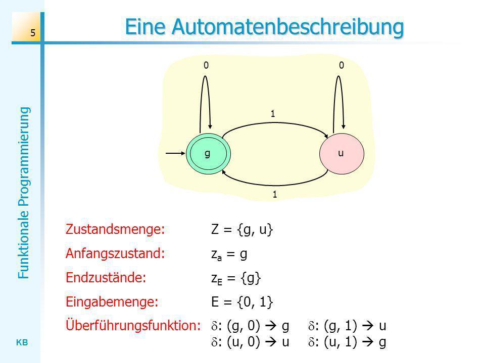 KB Funktionale Programmierung 5 Eine Automatenbeschreibung Zustandsmenge: Z = {g, u} Anfangszustand:z a = g Endzustände:z E = {g} Eingabemenge: E = {0