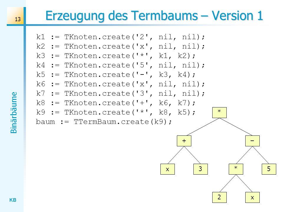 KB Binärbäume 13 Erzeugung des Termbaums – Version 1 k1 := TKnoten.create('2', nil, nil); k2 := TKnoten.create('x', nil, nil); k3 := TKnoten.create('*