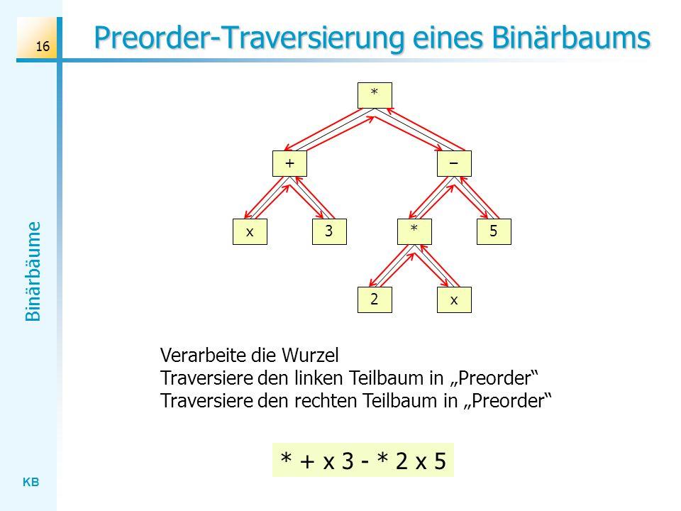 KB Binärbäume 16 Preorder-Traversierung eines Binärbaums * + x3 2x – 5* * + x 3 - * 2 x 5 Verarbeite die Wurzel Traversiere den linken Teilbaum in Pre