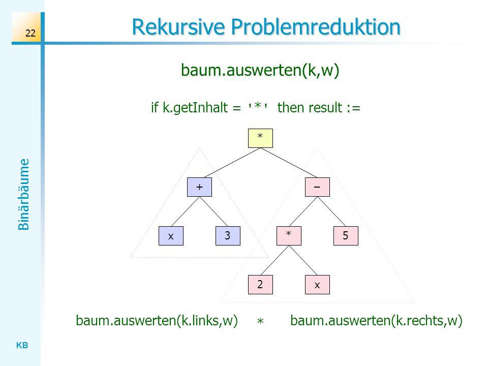 KB Binärbäume 22 Rekursive Problemreduktion baum.auswerten(k.links,w) * + x3 2x – 5* if k.getInhalt = ' * ' then result := baum.auswerten(k.rechts,w)