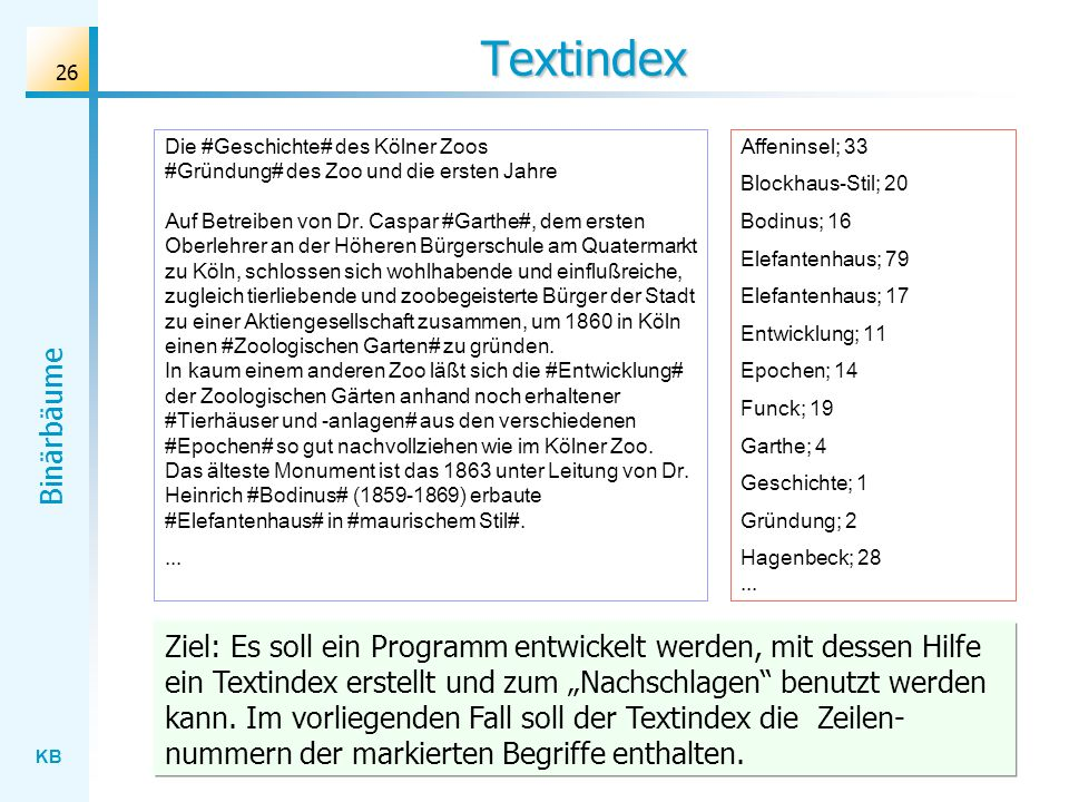 KB Binärbäume 26 Textindex Die #Geschichte# des Kölner Zoos #Gründung# des Zoo und die ersten Jahre Auf Betreiben von Dr. Caspar #Garthe#, dem ersten