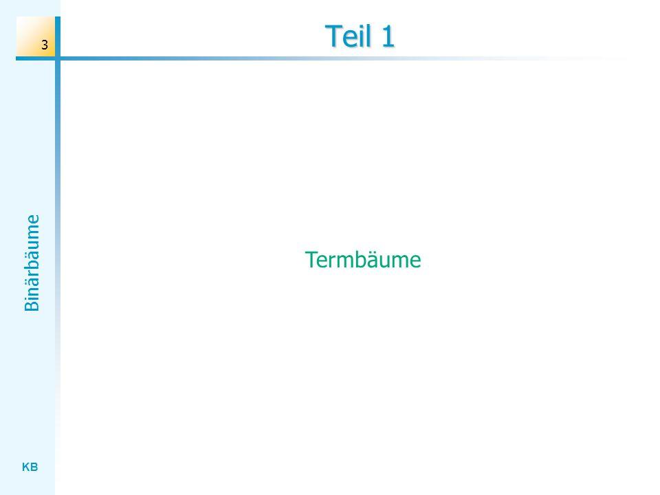KB Binärbäume 14 Erzeugung des Termbaums – Version 2 baum := TTermBaum.create( TKnoten.create( * , TKnoten.create( + , TKnoten.create( x , nil, nil), TKnoten.create( 3 , nil, nil)), TKnoten.create( - , TKnoten.create( * , TKnoten.create( 2 , nil, nil), TKnoten.create( x , nil, nil)), TKnoten.create( 5 , nil, nil)))); * + x3 2x – 5*