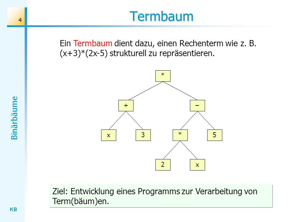 KB Binärbäume 4 Termbaum * + x3 2x – 5* Ein Termbaum dient dazu, einen Rechenterm wie z. B. (x+3)*(2x-5) strukturell zu repräsentieren. Ziel: Entwickl