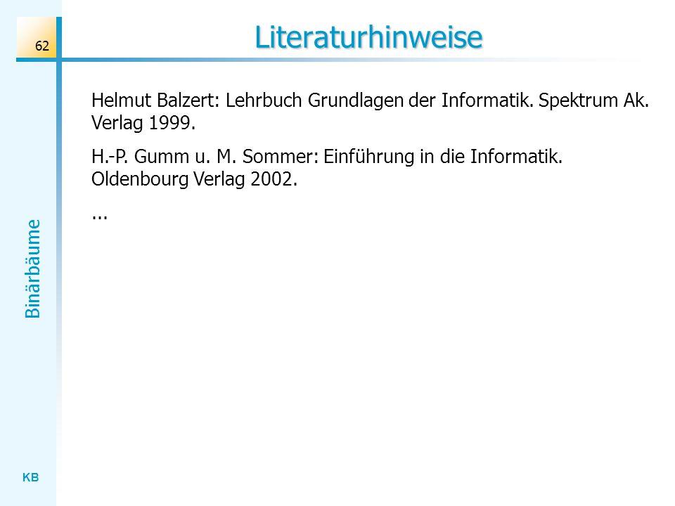 KB Binärbäume 62 Literaturhinweise Helmut Balzert: Lehrbuch Grundlagen der Informatik. Spektrum Ak. Verlag 1999. H.-P. Gumm u. M. Sommer: Einführung i