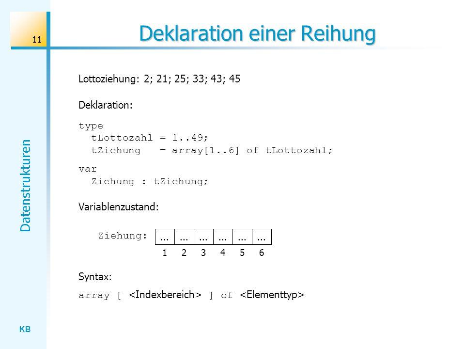 KB Datenstrukturen 11 Deklaration einer Reihung Lottoziehung: 2; 21; 25; 33; 43; 45...