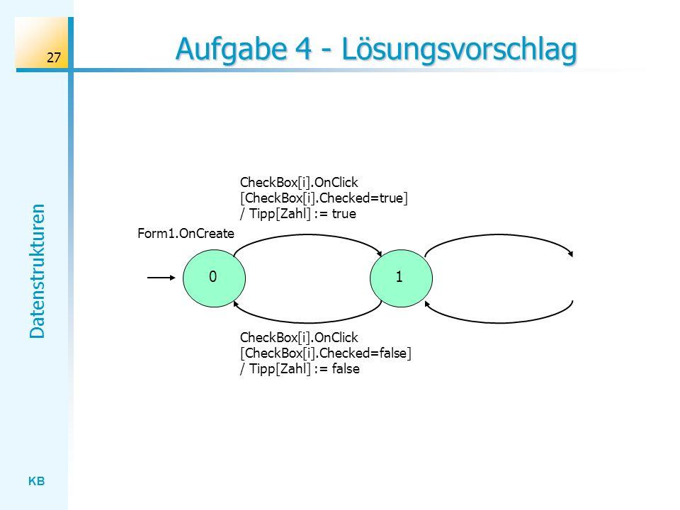 KB Datenstrukturen 27 Aufgabe 4 - Lösungsvorschlag CheckBox[i].OnClick [CheckBox[i].Checked=true] / Tipp[Zahl] := true 01 Form1.OnCreate CheckBox[i].OnClick [CheckBox[i].Checked=false] / Tipp[Zahl] := false