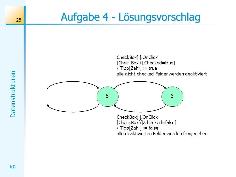 KB Datenstrukturen 28 Aufgabe 4 - Lösungsvorschlag CheckBox[i].OnClick [CheckBox[i].Checked=true] / Tipp[Zahl] := true alle nicht-checked-Felder werden deaktiviert 56 CheckBox[i].OnClick [CheckBox[i].Checked=false] / Tipp[Zahl] := false alle deaktivierten Felder werden freigegeben