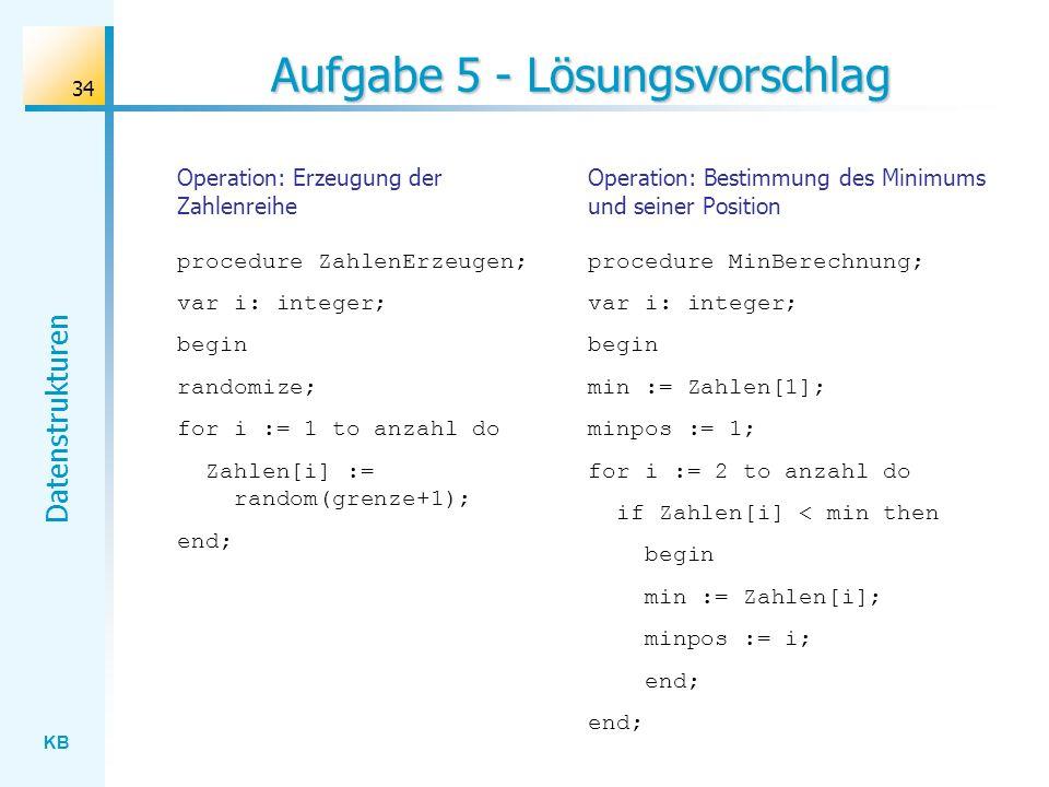 KB Datenstrukturen 34 Aufgabe 5 - Lösungsvorschlag Operation: Erzeugung der Zahlenreihe procedure ZahlenErzeugen; var i: integer; begin randomize; for i := 1 to anzahl do Zahlen[i] := random(grenze+1); end; Operation: Bestimmung des Minimums und seiner Position procedure MinBerechnung; var i: integer; begin min := Zahlen[1]; minpos := 1; for i := 2 to anzahl do if Zahlen[i] < min then begin min := Zahlen[i]; minpos := i; end;