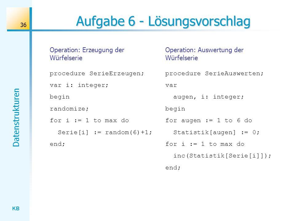 KB Datenstrukturen 36 Aufgabe 6 - Lösungsvorschlag Operation: Erzeugung der Würfelserie procedure SerieErzeugen; var i: integer; begin randomize; for i := 1 to max do Serie[i] := random(6)+1; end; Operation: Auswertung der Würfelserie procedure SerieAuswerten; var augen, i: integer; begin for augen := 1 to 6 do Statistik[augen] := 0; for i := 1 to max do inc(Statistik[Serie[i]]); end;