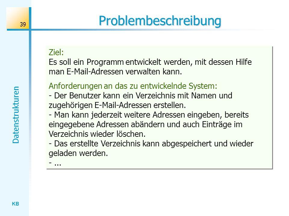 KB Datenstrukturen 39 Problembeschreibung Ziel: Es soll ein Programm entwickelt werden, mit dessen Hilfe man E-Mail-Adressen verwalten kann.