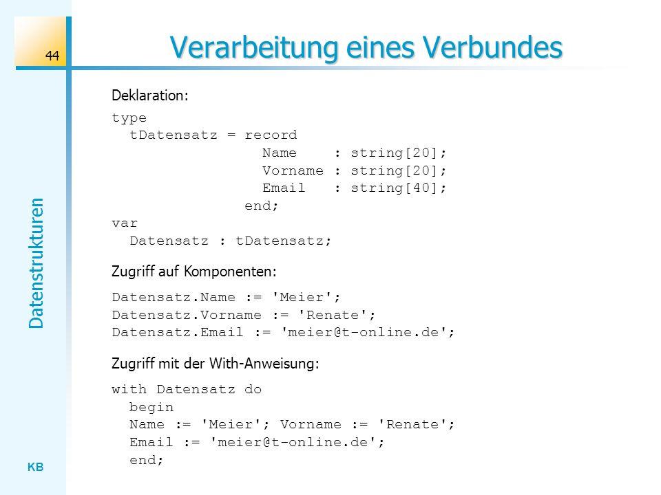 KB Datenstrukturen 44 Verarbeitung eines Verbundes Deklaration: Zugriff auf Komponenten: Datensatz.Name := Meier ; Datensatz.Vorname := Renate ; Datensatz.Email := meier@t-online.de ; Zugriff mit der With-Anweisung: with Datensatz do begin Name := Meier ; Vorname := Renate ; Email := meier@t-online.de ; end; type tDatensatz = record Name : string[20]; Vorname : string[20]; Email : string[40]; end; var Datensatz : tDatensatz;