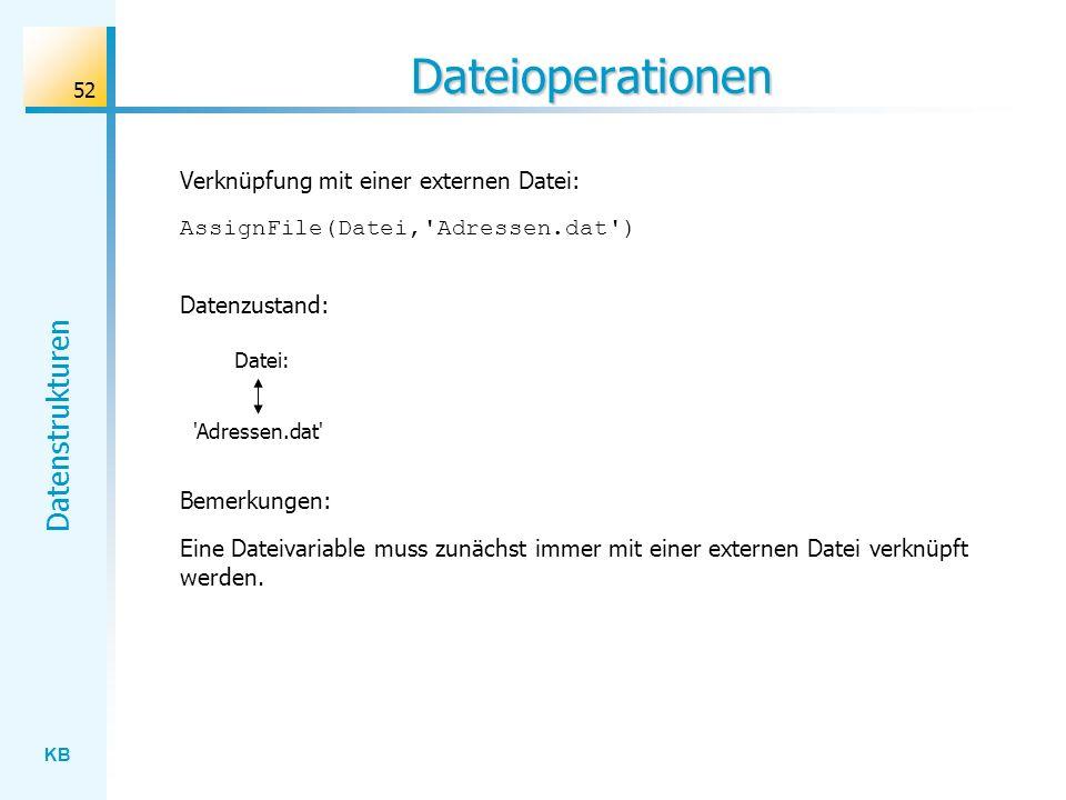 KB Datenstrukturen 52 Dateioperationen AssignFile(Datei, Adressen.dat ) Verknüpfung mit einer externen Datei: Datenzustand: Datei: Adressen.dat Eine Dateivariable muss zunächst immer mit einer externen Datei verknüpft werden.