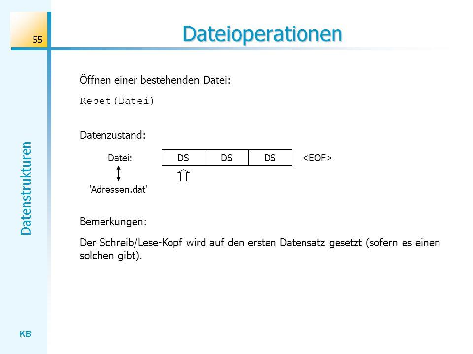 KB Datenstrukturen 55 Dateioperationen Reset(Datei) Öffnen einer bestehenden Datei: Datenzustand: Datei: Adressen.dat Der Schreib/Lese-Kopf wird auf den ersten Datensatz gesetzt (sofern es einen solchen gibt).