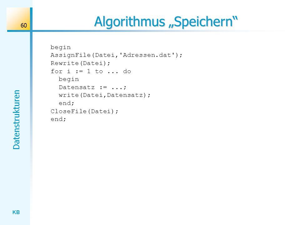 KB Datenstrukturen 60 Algorithmus Speichern begin AssignFile(Datei, Adressen.dat ); Rewrite(Datei); for i := 1 to...
