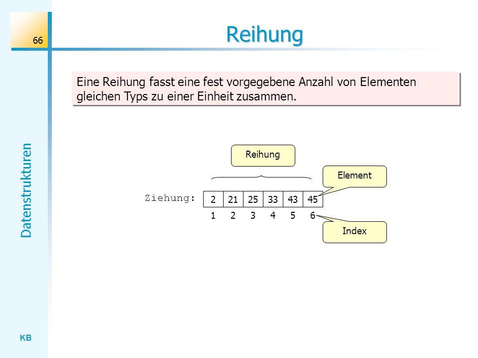 KB Datenstrukturen 66 Reihung Eine Reihung fasst eine fest vorgegebene Anzahl von Elementen gleichen Typs zu einer Einheit zusammen.