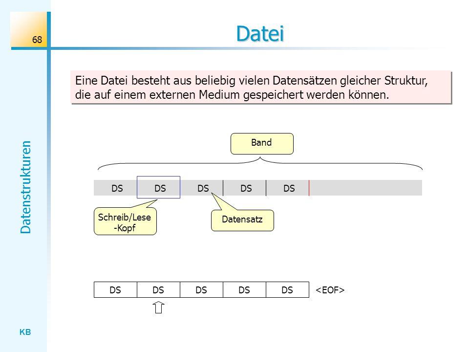 KB Datenstrukturen 68 Datei Eine Datei besteht aus beliebig vielen Datensätzen gleicher Struktur, die auf einem externen Medium gespeichert werden können.