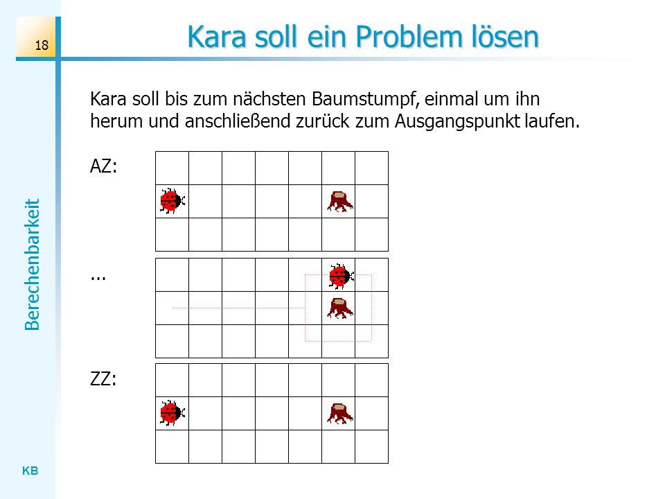 KB Berechenbarkeit 18 Kara soll ein Problem lösen Kara soll bis zum nächsten Baumstumpf, einmal um ihn herum und anschließend zurück zum Ausgangspunkt