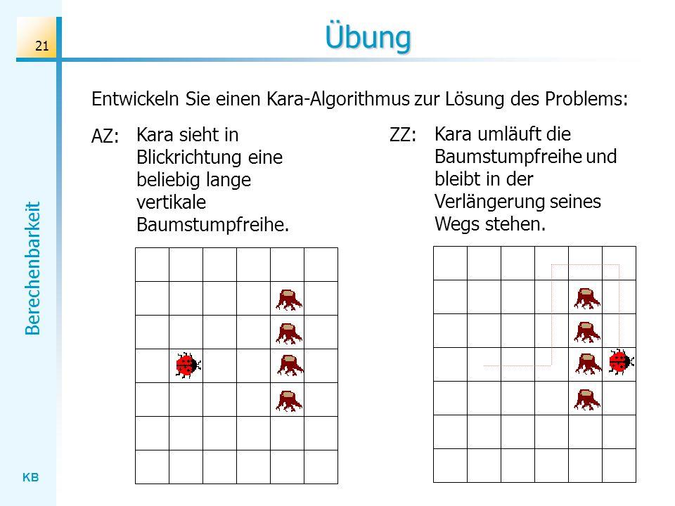 KB Berechenbarkeit 21 Entwickeln Sie einen Kara-Algorithmus zur Lösung des Problems: Übung AZ: Kara sieht in Blickrichtung eine beliebig lange vertika
