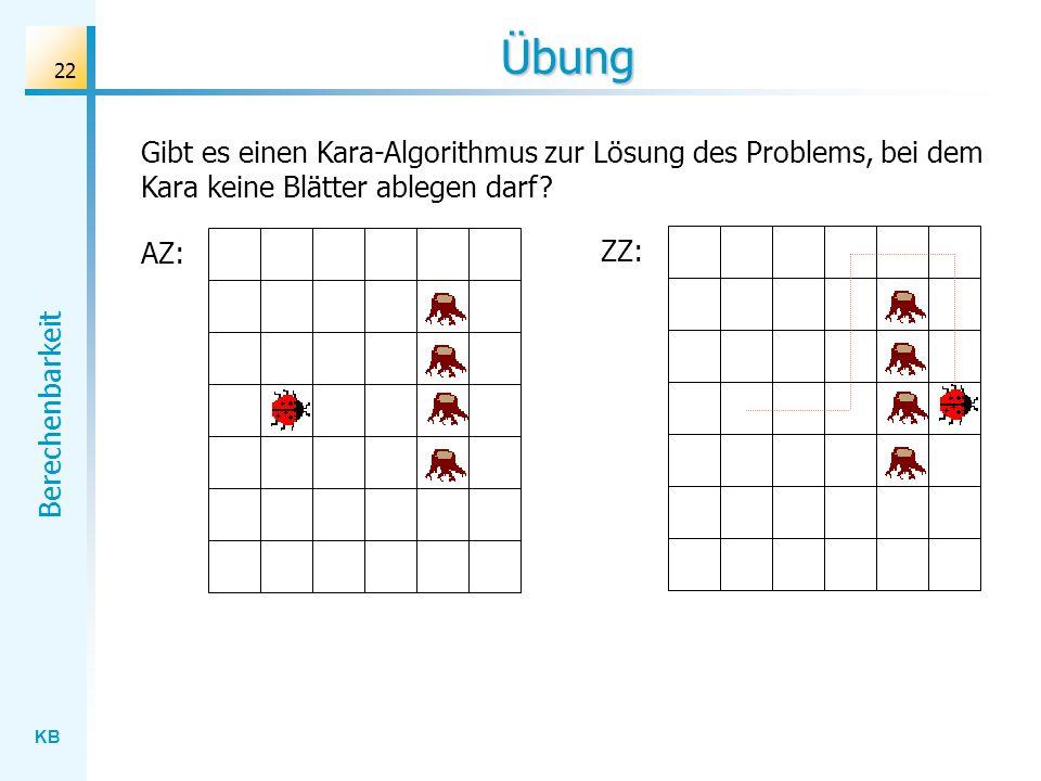 KB Berechenbarkeit 22 Gibt es einen Kara-Algorithmus zur Lösung des Problems, bei dem Kara keine Blätter ablegen darf? Übung AZ: ZZ: