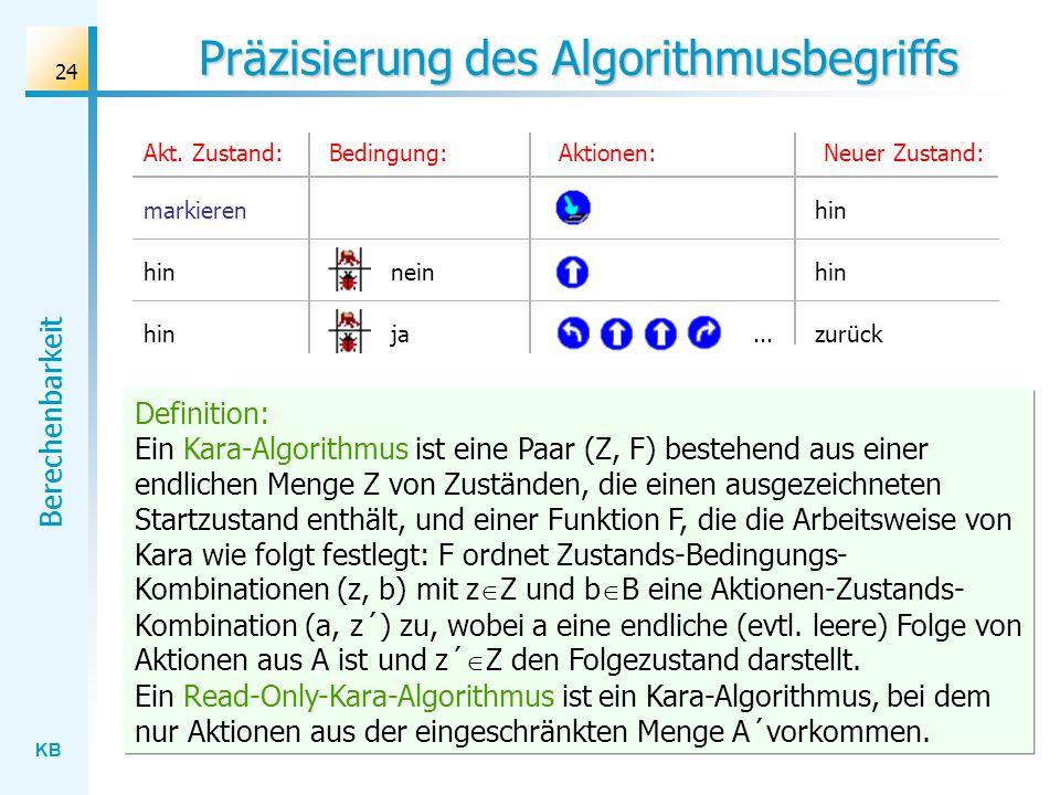 KB Berechenbarkeit 24 Präzisierung des Algorithmusbegriffs Bedingung:Aktionen:Akt. Zustand:Neuer Zustand: markierenhin neinhin jazurück... Definition: