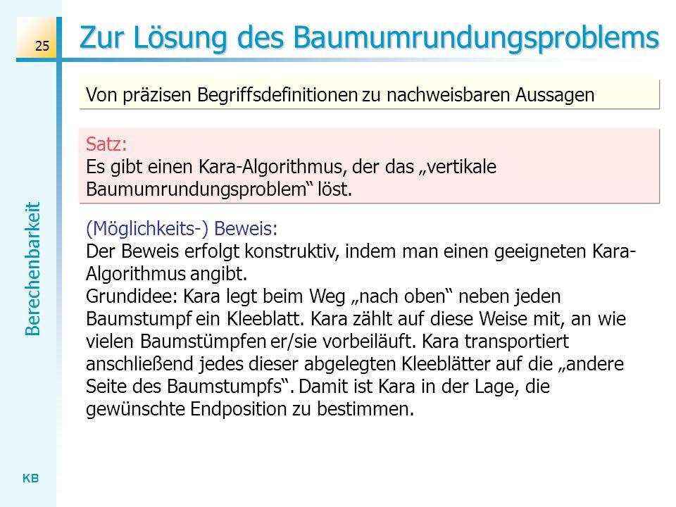 KB Berechenbarkeit 25 Zur Lösung des Baumumrundungsproblems Von präzisen Begriffsdefinitionen zu nachweisbaren Aussagen (Möglichkeits-) Beweis: Der Be