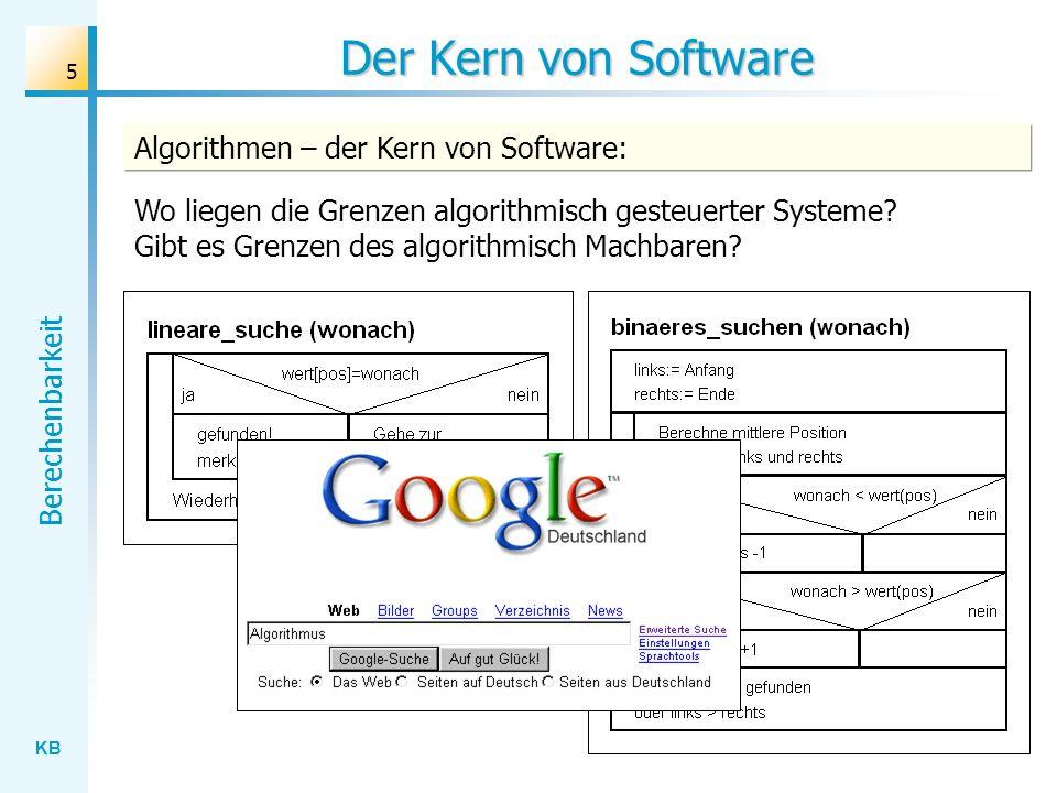 KB Berechenbarkeit 76 Präzisierung des Algorithmusbegriffs Prozessor Anweisungen Eingaben Ausgaben Grundschema eines algorithmisch gesteuerten Systems Präzisierungsansätze: Anweisungsorientierte Ansätze: - Die Programmiersprache LOOP - Die Programmiersprache WHILE - Die Programmiersprachen Pascal, Delphi, Java,...
