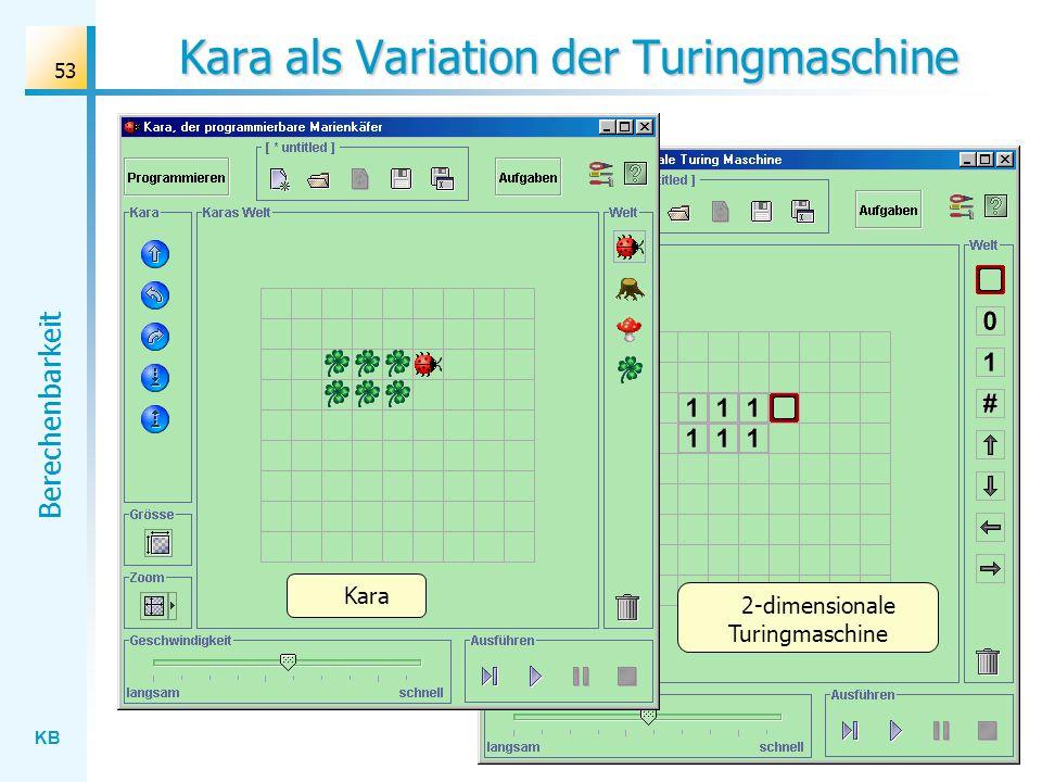 KB Berechenbarkeit 53 Kara als Variation der Turingmaschine 2-dimensionale Turingmaschine Kara