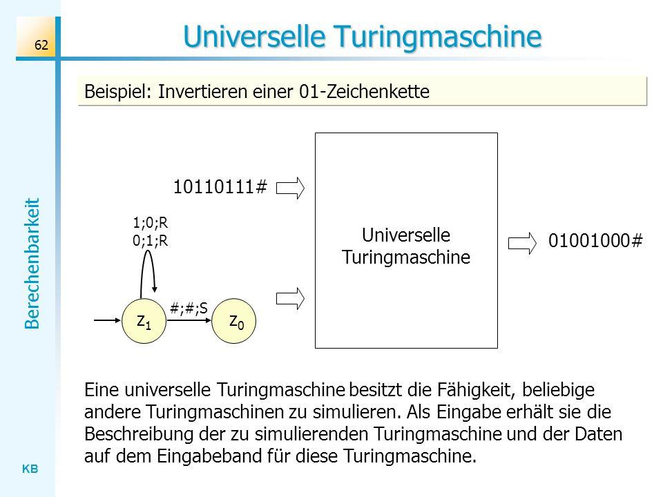 KB Berechenbarkeit 62 Universelle Turingmaschine Beispiel: Invertieren einer 01-Zeichenkette 10110111# 01001000# Eine universelle Turingmaschine besit