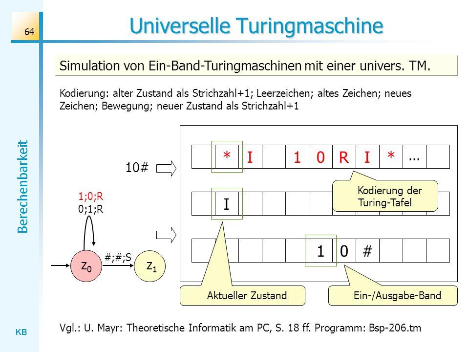 KB Berechenbarkeit 64 Universelle Turingmaschine Simulation von Ein-Band-Turingmaschinen mit einer univers. TM. Vgl.: U. Mayr: Theoretische Informatik
