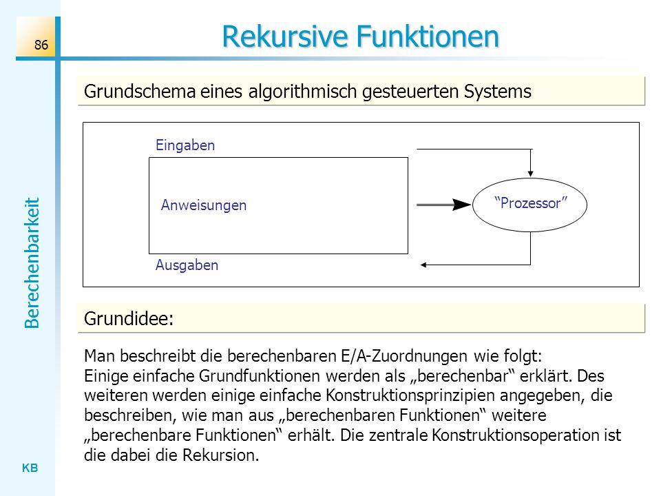 KB Berechenbarkeit 86 Rekursive Funktionen Grundschema eines algorithmisch gesteuerten Systems Prozessor Anweisungen Eingaben Ausgaben Grundidee: Man